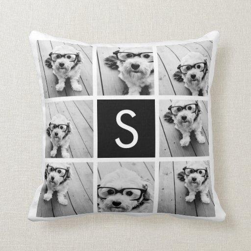 Black and White Photo Collage Custom Monogram Throw Pillow