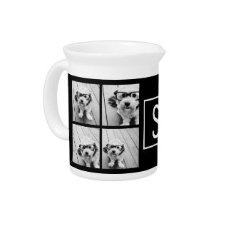 Black And White Photo Collage Custom Monogram Pitcher at Zazzle