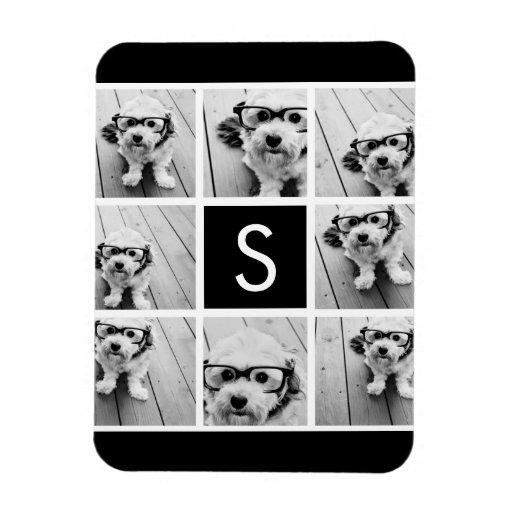 Black and White Photo Collage Custom Monogram Rectangular Photo Magnet