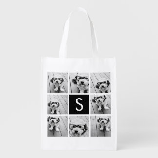 Black and White Photo Collage Custom Monogram Reusable Grocery Bags
