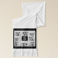 Black and White Photo Collage Custom Monogram Scarf