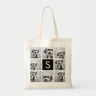 Black and White Photo Collage Custom Monogram Tote Bag