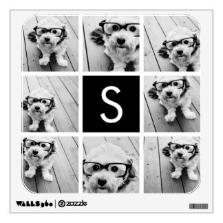 Black and White Photo Collage Custom Monogram Wall Decal