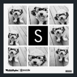 """Black and White Photo Collage Custom Monogram Wall Decal<br><div class=""""desc"""">You can use Instagram photos for this design. Use 8 square photos to create a unique and personal gift. Or you can keep the hipster puppy and make a trendy keepsake. If you need to adjust the pictures,  click on the customize tool to make changes.</div>"""