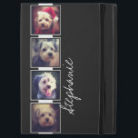 """Black and White Photo Collage Squares custom name iPad Pro 12.9&quot; Case<br><div class=""""desc"""">Add your favorite photos to this strip for a fun memory keeper. An artistic way to display your best photo sharing pics.</div>"""