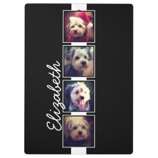 Black and White Photo Collage Squares Personalized Clipboard