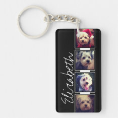Black and White Photo Collage Squares Personalized Keychain at Zazzle