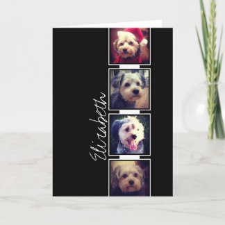 Black and White Photo Collage Squares Personalized Note Card
