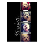Black and White Photo Collage Squares Personalized Postcard