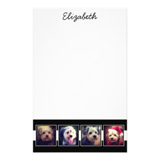 Black and White Photo Collage Squares Personalized Stationery