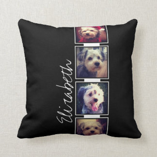 Black and White Photo Collage Squares Personalized Throw Pillow