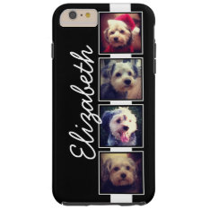 Black and White Photo Collage Squares Personalized Tough iPhone 6 Plus Case at Zazzle
