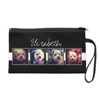 Black and White Photo Collage Squares Personalized Wristlet