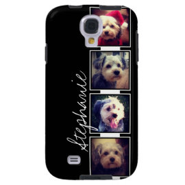 Black and White Photo Collage Squares with name Samsung Galaxys4 Case