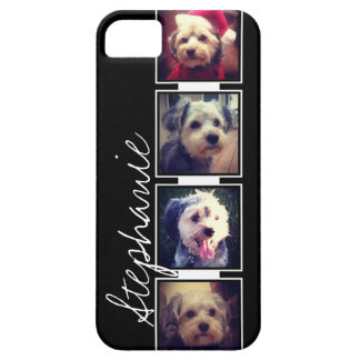 Black and White Photo Collage Squares with name iPhone 5 Case