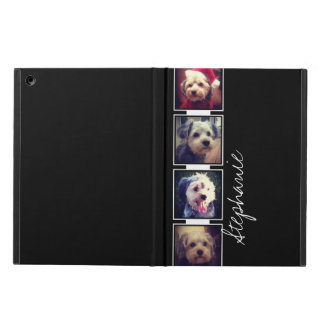 Black and White Photo Collage Squares with name iPad Air Cover