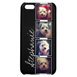 Black and White Photo Collage Squares with name Case For iPhone 5C