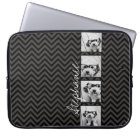 Black and White Photo Collage Squares with name Laptop Sleeve