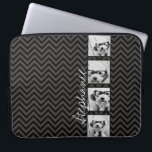 "Black and White Photo Collage Squares with name Laptop Sleeve<br><div class=""desc"">Gray Chevron Pattern - Use photos WITHOUT frames on this one! Add your favorite photos to this picture strip for a fun memory keeper. An artistic way to display your best photo sharing pics.</div>"