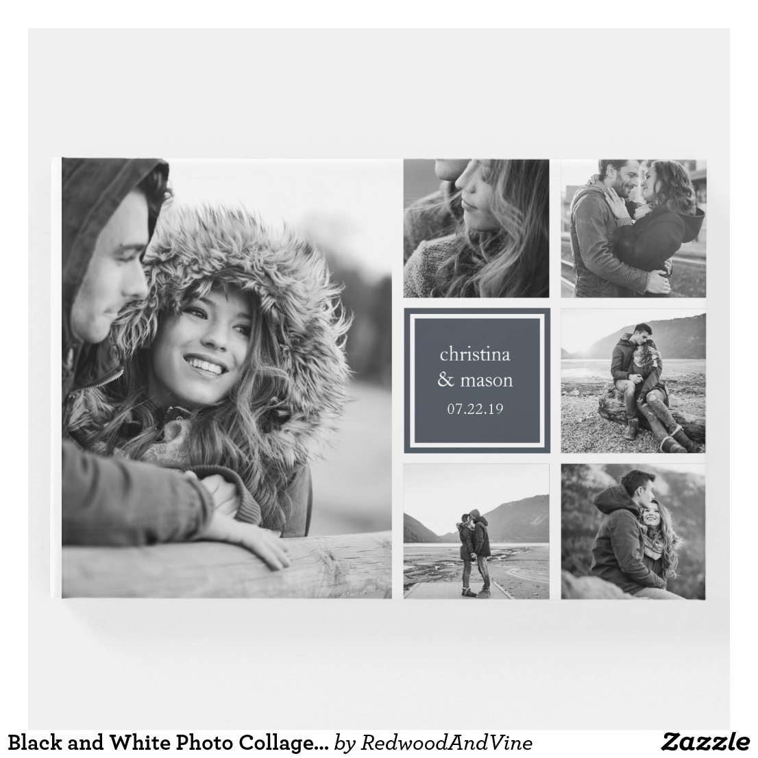 Black and White Photo Collage Wedding Guest Book