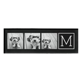 Black and White Photo Collage with Monogram Name Tag