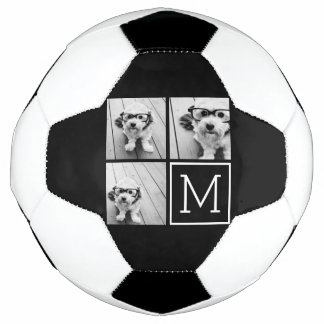 Black and White Photo Collage with Monogram Soccer Ball