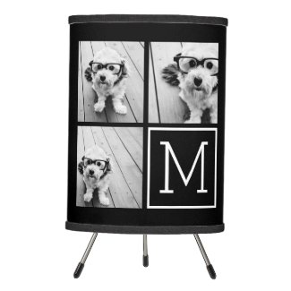 Black and White Photo Collage with Monogram Tripod Lamp