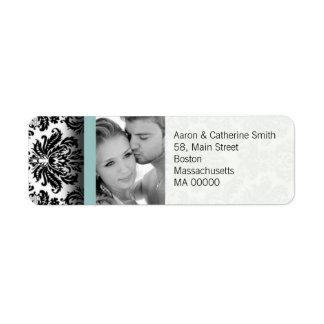 Black and White Photo Damask Address Labels