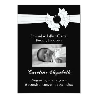 Black and White Photo Frame Birth Announcement