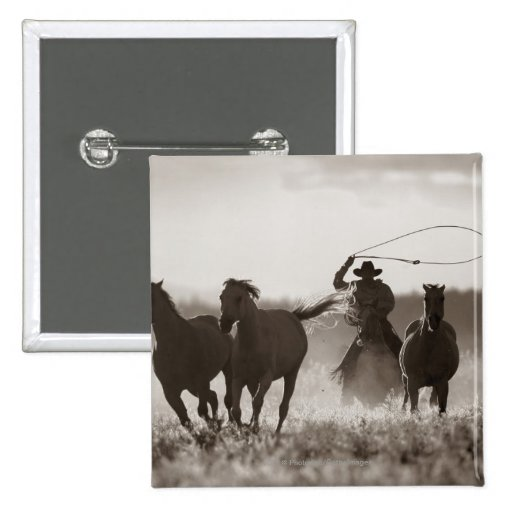 Black and White photo of a Cowboy Lassoing Horses Pinback Button