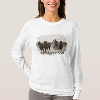 Black and White photo of a Cowboy Lassoing Horses T-Shirt