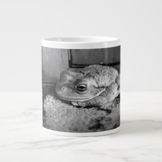 Black and white photo of a frog on a concrete sill giant coffee mug