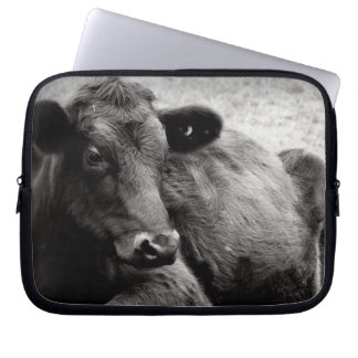 Black and White Photo of Black Angus Steer Computer Sleeve Cases