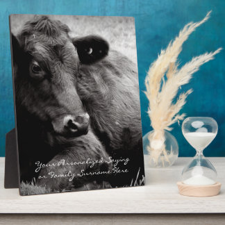 Black and White Photo of Black Angus Steer Plaque