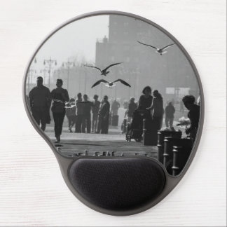 Black and White Photo of Coney Island Boardwalk Gel Mouse Mat