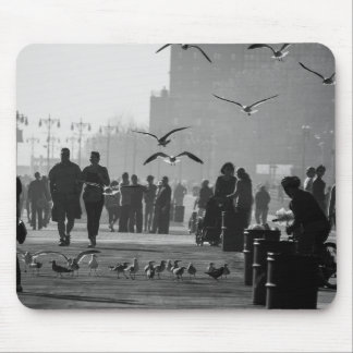 Black and White Photo of Coney Island Boardwalk Mouse Pads