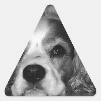 Black and white photo of dog triangle sticker