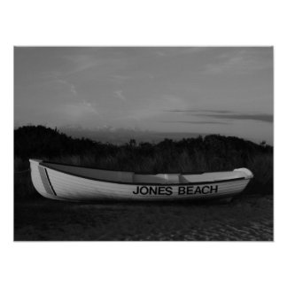 Black and White Photo Row Boat at Jones Beach Poster