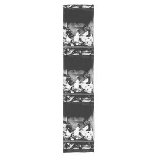 Black and white photo short table runner