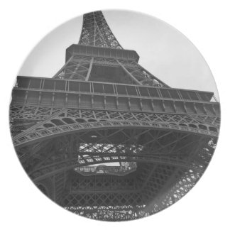 Black and white photograph of the Eiffel Tower Dinner Plate
