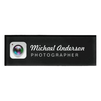 Black and White Photography Camera Lens Logo Name Tag