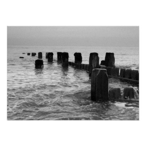 "Black and white photography – ""Seaside breakers"" Poster"