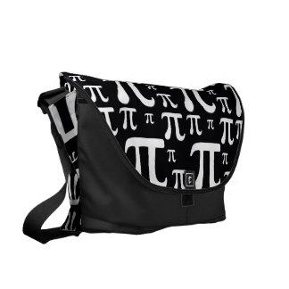 Black and White Pi Pattern Messenger Bag