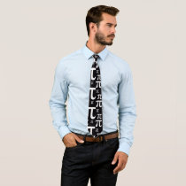 Black and White Pi Pattern Neck Tie