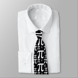 Black and White Pi Pattern Tie