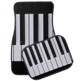 Black and White Piano Keys Car Mat