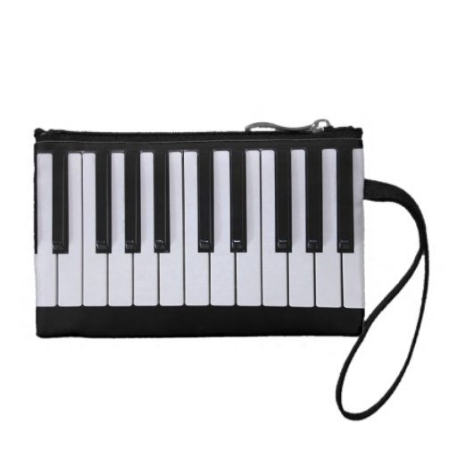 Black and White Piano Keys Clutch Coin Wallets