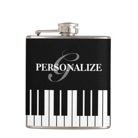 Black and white piano keys custom monogram drink flask