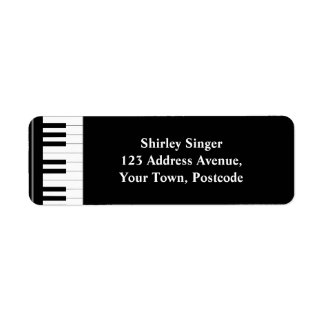 Black and white Piano keys Label