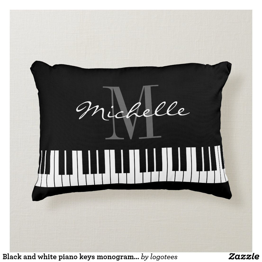 Black and white piano keys monogram pillow